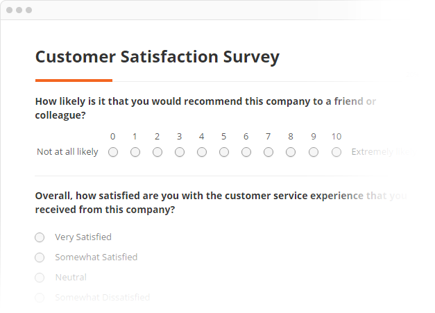 customer satisfaction example survey