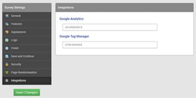 SmartSurvey Google Analytics settings