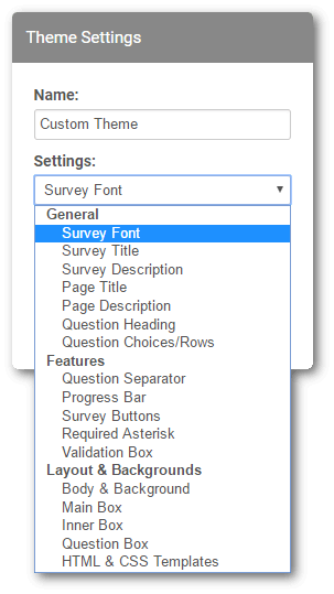 set survey theme options